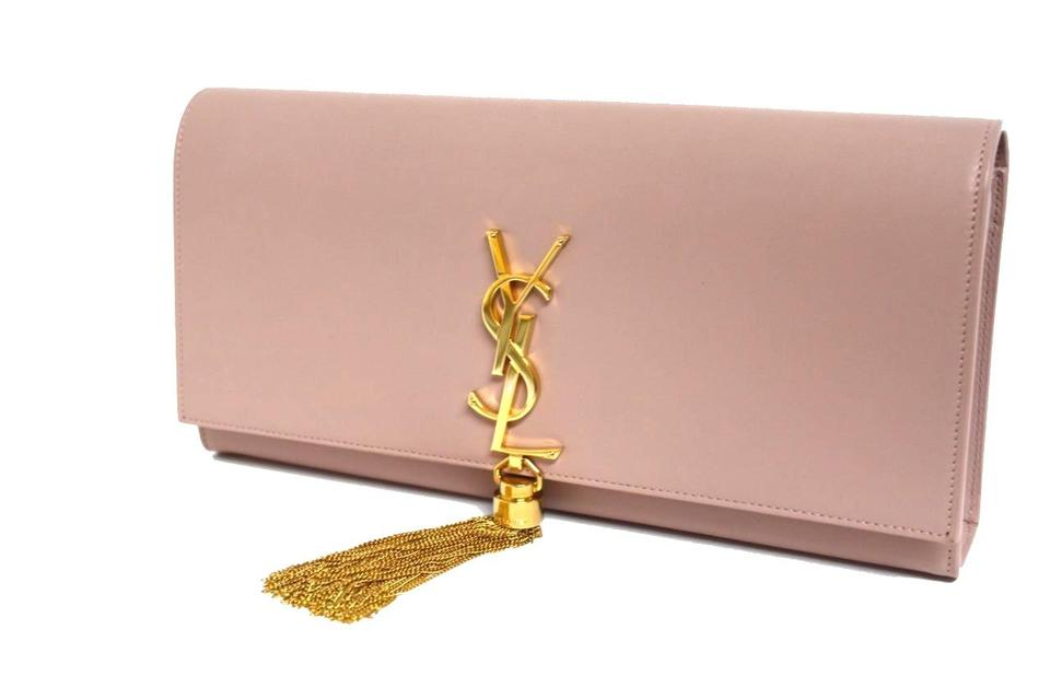824576feee4bf Saint Laurent Cassandre Medium Tassel Dim Rose Leather Clutch - Tradesy
