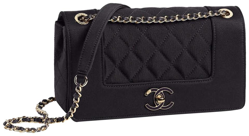 d57ad6ed1ee0d8 Chanel Mademoiselle Classic Flap Small Black Satan Cross Body Bag ...