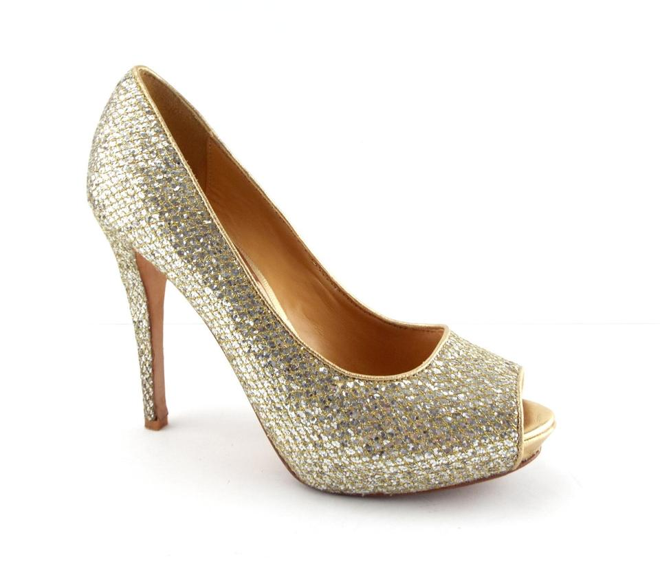42126f83ae6 Badgley Mischka Glitter Peep Toe Platform Pumps. Size  US 7.5 Regular (M ...