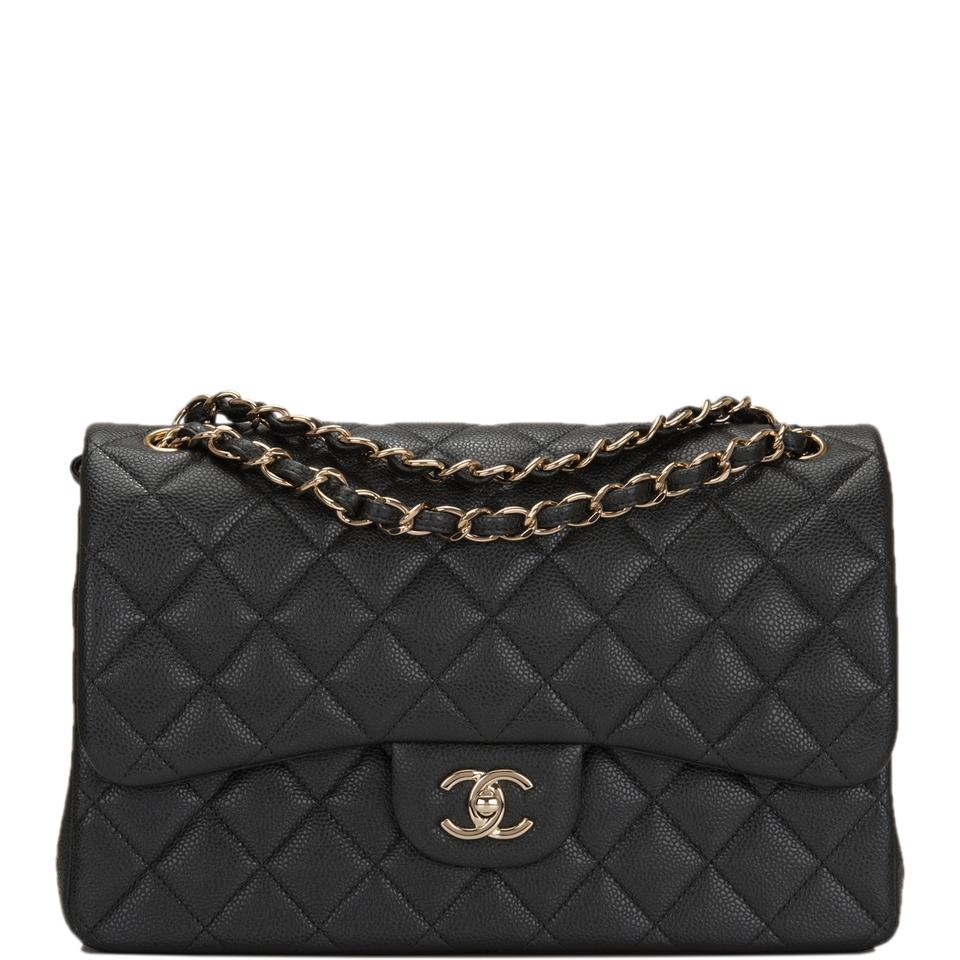 d0a593d438f0 Chanel Classic Flap Dark Shiny Quilted Caviar Jumbo Classic Double ...