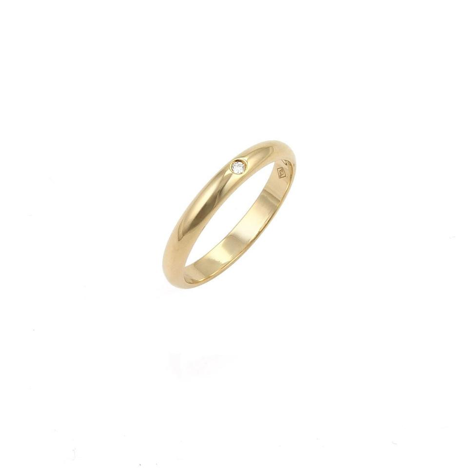 da352ace6e6e Cartier 21929  One Diamond 18k Gold 2.5mm Dome Band Size 49 W Cert ...