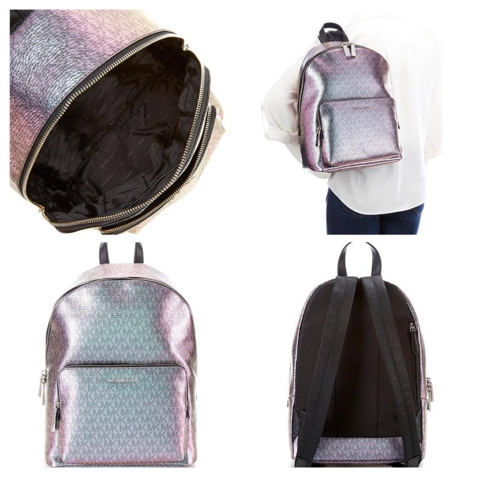 e7107440e503 Michael Kors Metallic Wythe Iridescent Multi Pale Blue Nickel Canvas and  Leather Backpack