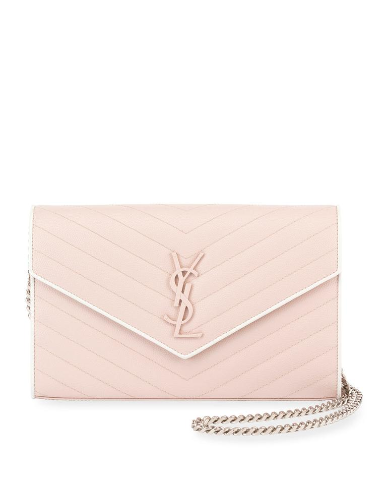 44d3f62214d9 Saint Laurent Monogram Envelope Chain Wallet Pink and White Calfskin  Leather Cross Body Bag 10% off retail