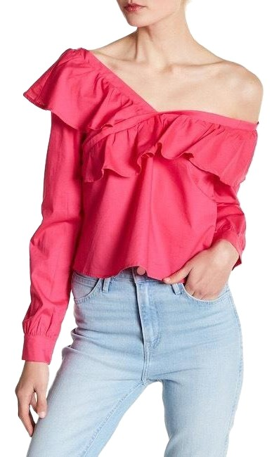 Item - Fuchsia Ruffle Off The Shoulder Blouse Size 4 (S)