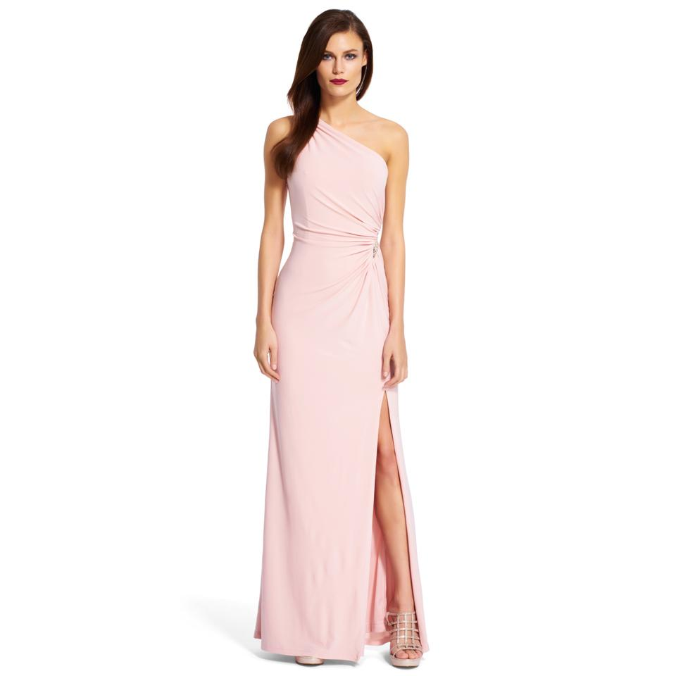 08a384b7 Adrianna Papell Blush Jersey Sequin Gown Long Formal Dress Size 6 (S ...