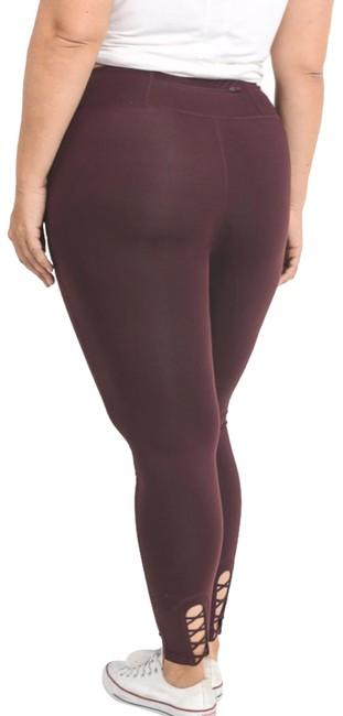 Item - Magenta Strappy Yoga Pants Not See Through Crisscross Tummy Control Activewear Bottoms Size 20 (Plus 1x)