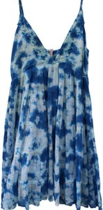 RAGA short dress blue, white Sundress Summer Tie Dye Strappy Short on Tradesy