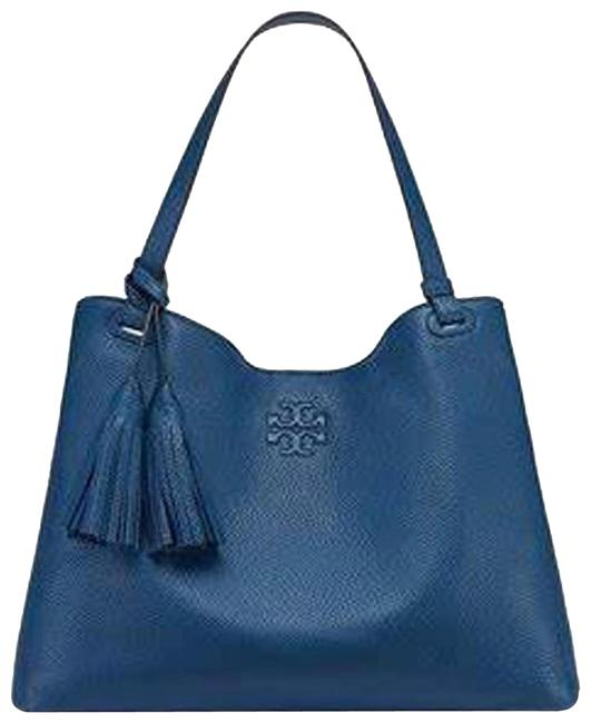 Item - Thea Tidal Center Zip Blue Leather Tote