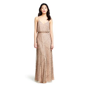 Adrianna Papell Art Deco Blouson Beaded Gown Feminine Bridesmaid/Mob Dress Size 14 (L)