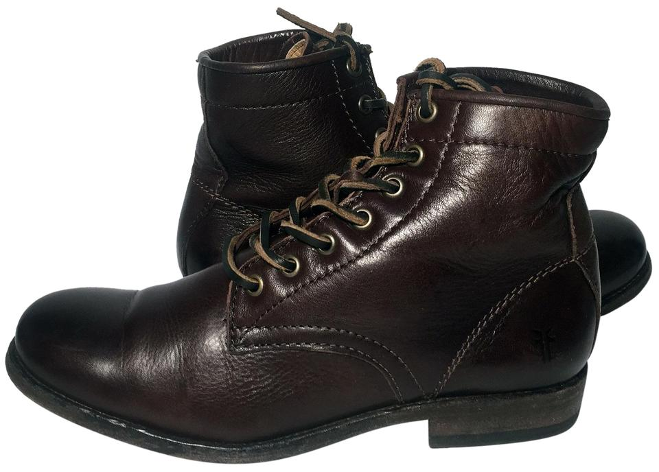 36878a6d41 Frye Brown 74873 Tyler Lace Up Leather Ankle Women's Boots/Booties ...