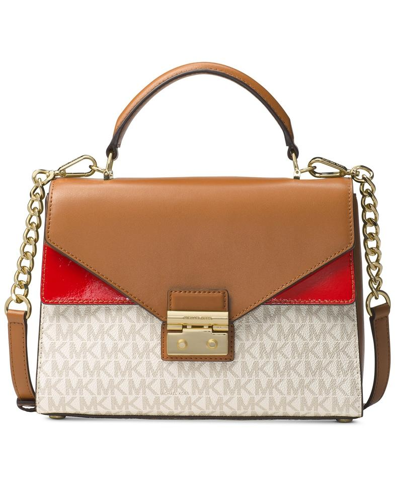 d6237e1694b4ba MICHAEL Michael Kors Top-handle Medium Sloan Double Flap Vanilla/Acorn/Red  Satchel ...