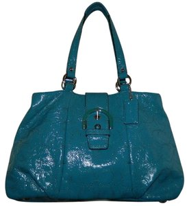Coach Signature Leather Soho Satchel in Teal Blue/Silver