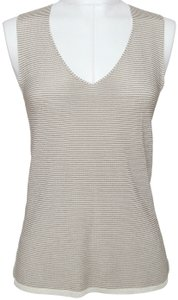 Armani Collezioni V-neck Sleeveless Shell Striped Knit Top Brown, Tan