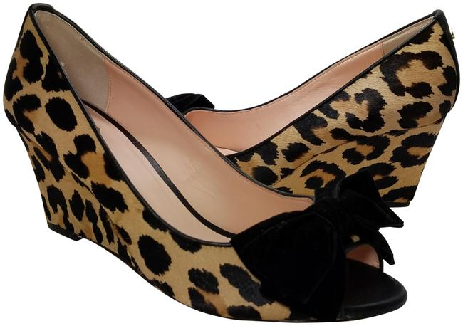 Item - Brown/ Cheetah New Roberta Leopard Calf Hair Bow Peep Toe Pumps Wedges Size US 6 Regular (M, B)