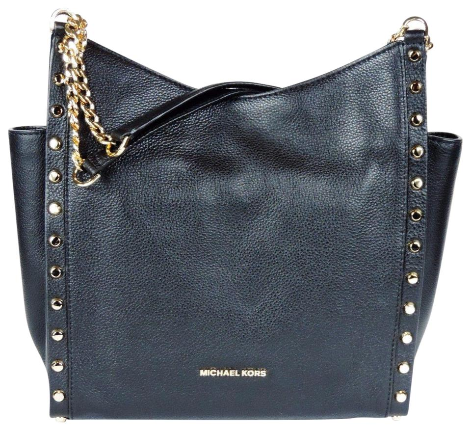 ad828ab46225 Michael Kors  newbury Studded Chain Black Leather Satchel - Tradesy