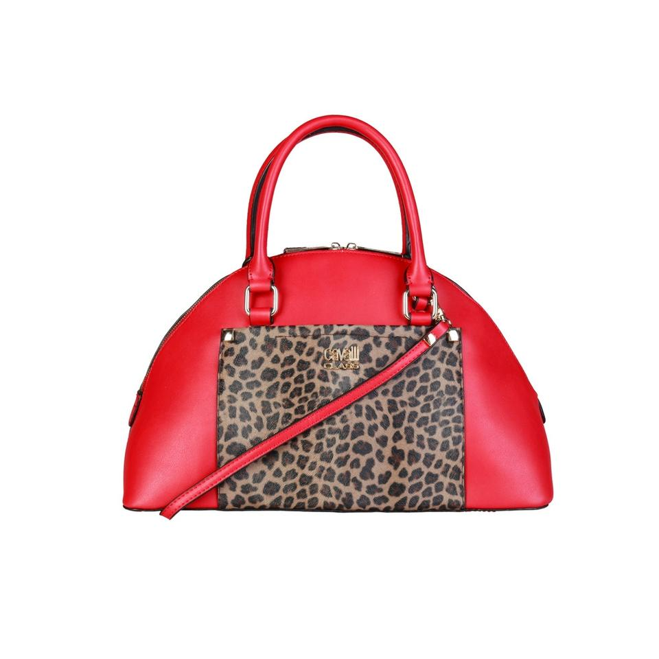 Roberto Cavalli New Class Leopard Red Synthetic Leather Shoulder Bag ... 95671eff4