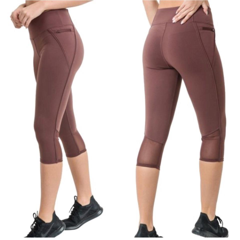 34f1f23c8c Mono B Terracotta Orchid S Cropped Yoga Pants High Waist Capri Activewear  Bottoms