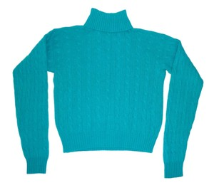 Ralph Lauren Cashmere Vintage Cropped Cable Knit Sweater