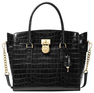 Michael Kors Embossed Leather Mothers Day Spring Mulberry Satchel in black