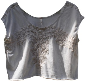 Free People Crop Flowy Lace T Shirt Off white