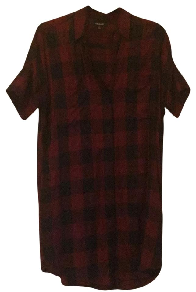 2060dccde44d8e Madewell Red and Black Shift Short Casual Dress Size 2 (XS) - Tradesy