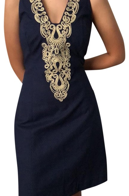 Item - Navy and Gold Mid-length Night Out Dress Size 10 (M)