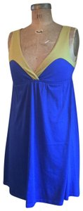 Lucca Couture short dress Blue Cotton Summer Color-blocking Empire Waist on Tradesy