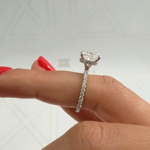 "White Gold 2.5 Carat E Vs1 ""Hidden Halo"" Cushion Cut Diamond Engagement Ring"
