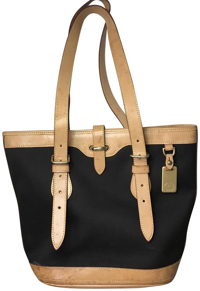 Dooney   Bourke Cabriolet Bucket Black and Tan Leather Canvas Tote ... 796bd0b8a421e