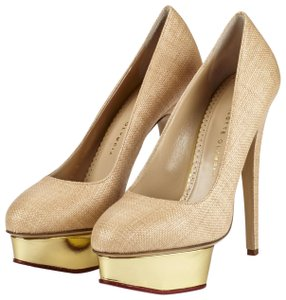 Charlotte Olympia Raffia Stilleto Metallic Highheel Beige, Tan, Gold, Pink Pumps