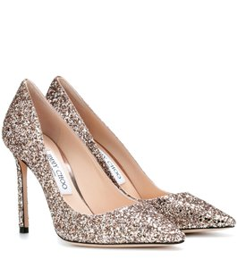 b74499b57bb2 Jimmy Choo Romy 100 Glitter 38.5 Ballet pink gold Pumps