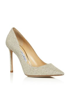Jimmy Choo Romy 100 Dusty Glitter 38 Platinum Ice Pumps