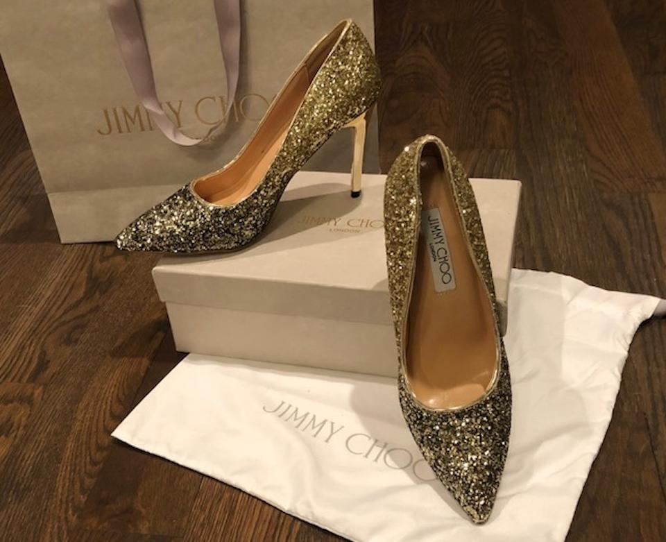 019c568ebb0 Jimmy Choo Gold   Black Romy Degrade Glitter Pumps Size EU 40 ...