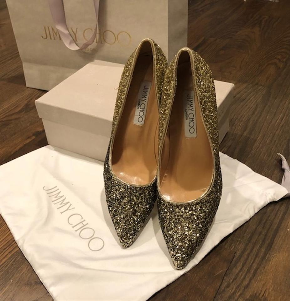 186c846743b Jimmy Choo Gold   Black Romy Degrade Glitter Pumps Size EU 40 (Approx. US  10) Narrow (Aa