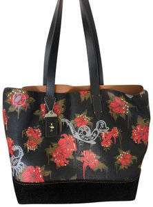 Coach Leather Tote in Black with Red accents