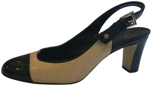 AK Anne Klein Spectator Quilted Patent Slingback Beige Pumps