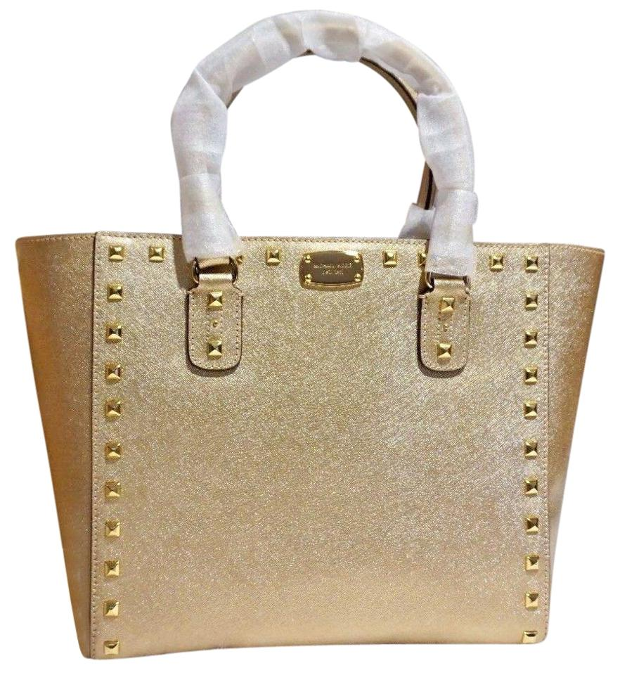 dcc87efeb79c Michael Kors New Lg Studded Satchel Pale Gold Saffiano Leather Tote ...