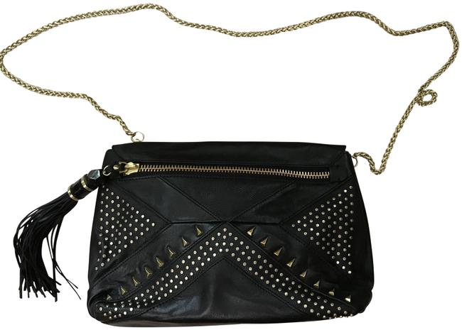 Item - With Gold Studs and Tassle Black Leather Cross Body Bag