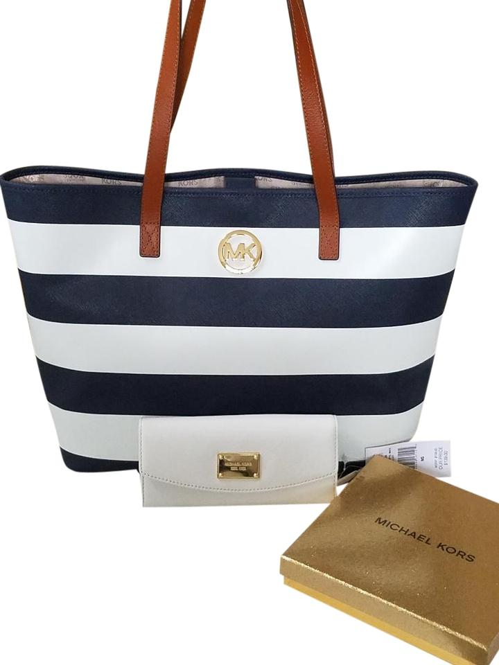 af1abd9f81b2 Michael Kors Navy White Stripe Saffiano Leather Blue Gold Hardware Tote in  Navy White ...