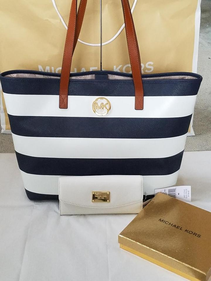 26dde5049a7e Michael Kors Navy/White Stripe Saffiano Leather Blue Gold Hardware Tote in  Navy/White. 123456789