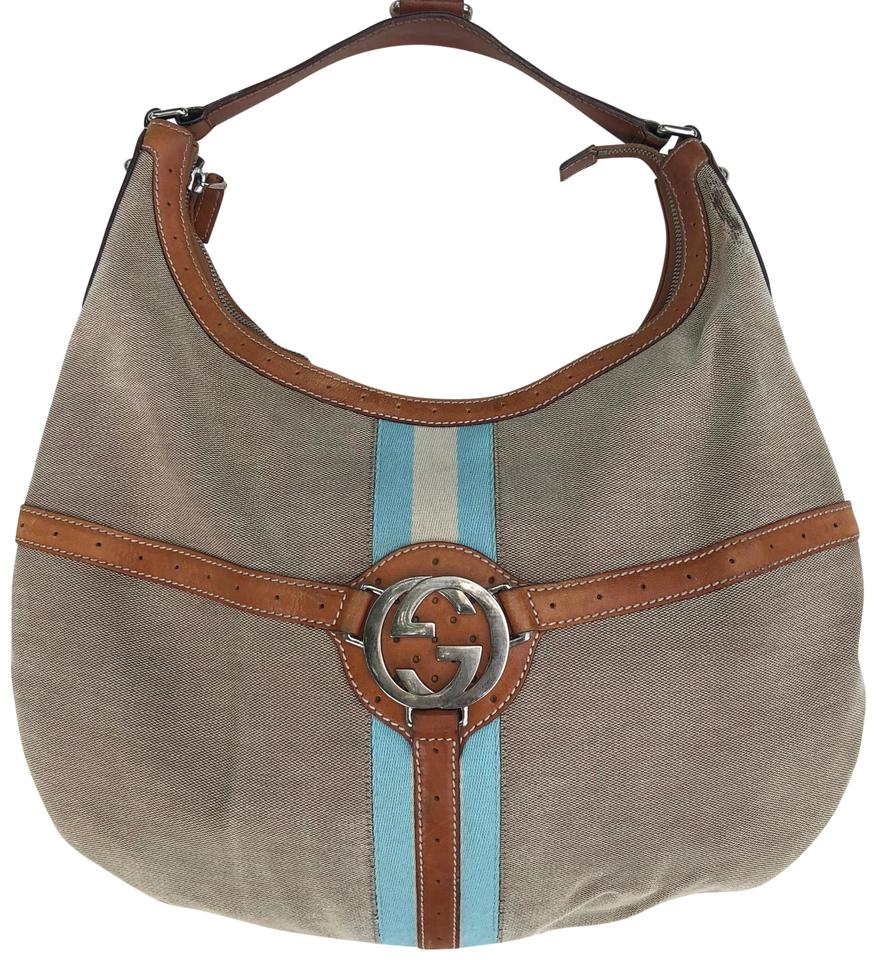 c5413a72abc Gucci Jackie Rare Vintage Handbag Blondie Gg Webbing Tan W  Light Brown  Leather Canvas Hobo Bag