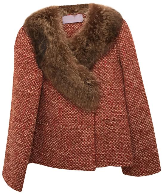 Item - Beige Red Brown Wool Blend Natural Collar Coat Size 6 (S)