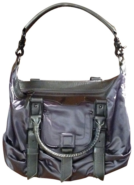 Item - 08b0084680 Dark Gray/Silver Patent Leather Trim and Material Satchel