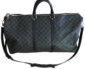 Louis Vuitton Duffle Keepall Bandouliere 55 Damier Graphite Canvas Gray  Leather Weekend Travel Bag bdb81a7ff6