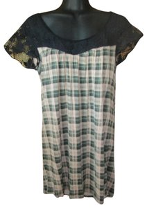 Urban Outfitters Plaid Lace Boho Spring Summer Top Multicolored