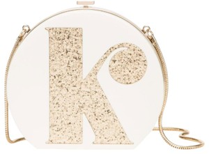 Kate Spade White Bridal Evening Edie Parker Monogram Cream/Gold Clutch