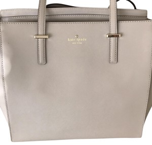 Kate Spade Leather Metal Accents Tote Satchel in Beige