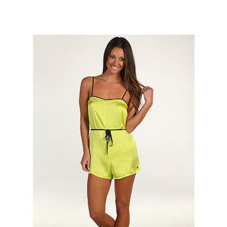 a64c5276421 Juicy Couture Black and Yellow Satin Romper - Tradesy