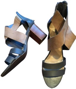 Audrey Brooke Two Chunky Heel Ankle Wrap stone and tan Sandals