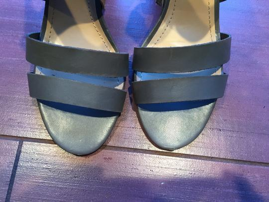 6ca3c466507 Audrey Brooke Two Chunky Heel Ankle Wrap stone and tan Sandals Image 2